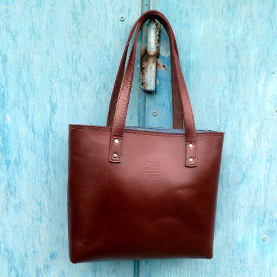 leather tote bag-urban-collection-tash-rabat-chestnut-brown