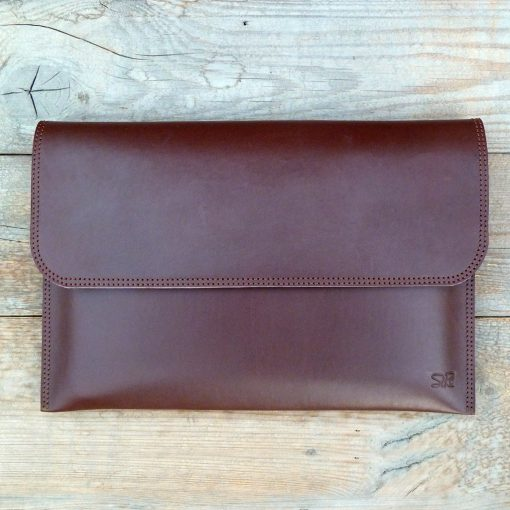 leather sleeve chestnut brown