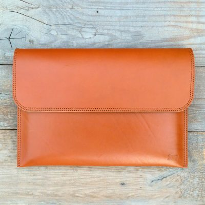 leather sleeve-natural orange