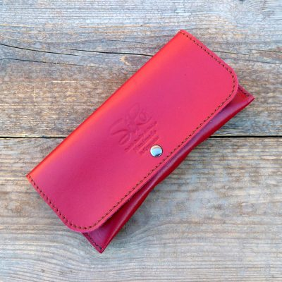 leather glasses case-deluxe-cherry red