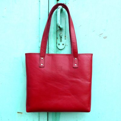 leather tote bag-urban-collection-tash-rabat-cherry-red