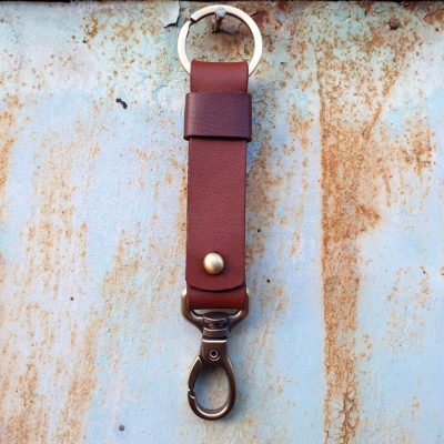 leather keychain_cognac