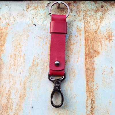 leather keychain_red