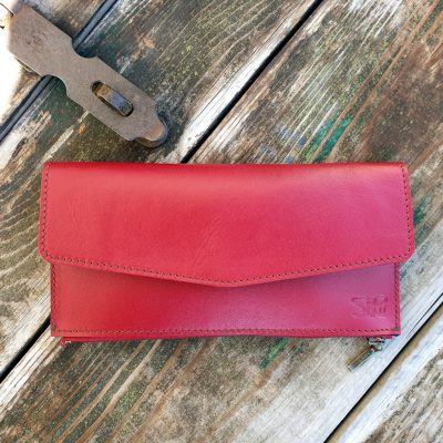 Leather Wallet - Cherry Red