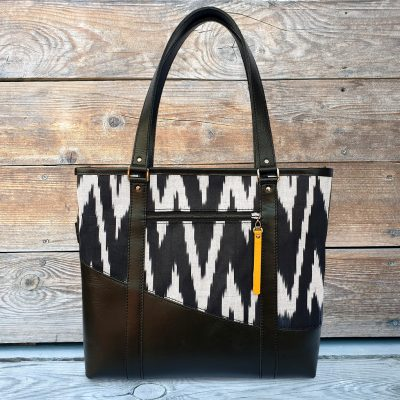 Leather Ikat Handbag - Kashgar