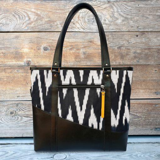 Leather Ikat Handbag - Kashgar