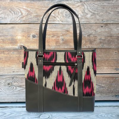Leather Ikat Handbag - Samarkand