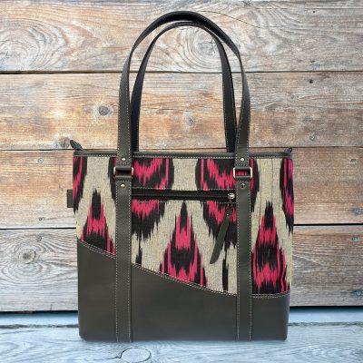 Leather Ikat Handbag - Samarkand