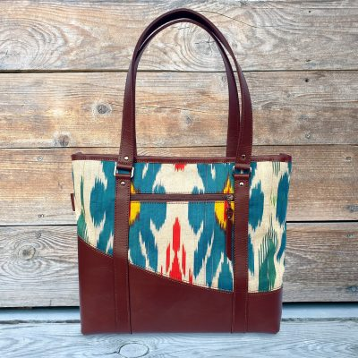 Leather Ikat Handbag - Taraz