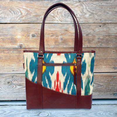 Leather Ikat Handbag - Taraz