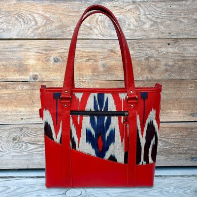 Leather Ikat Handbag - Turfan