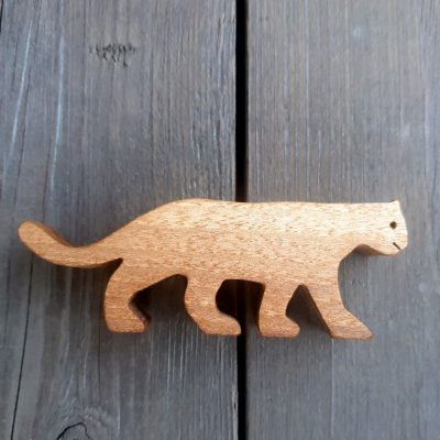Small Wooden Snow Leopard