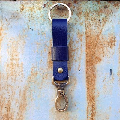 leather keychain-indigo